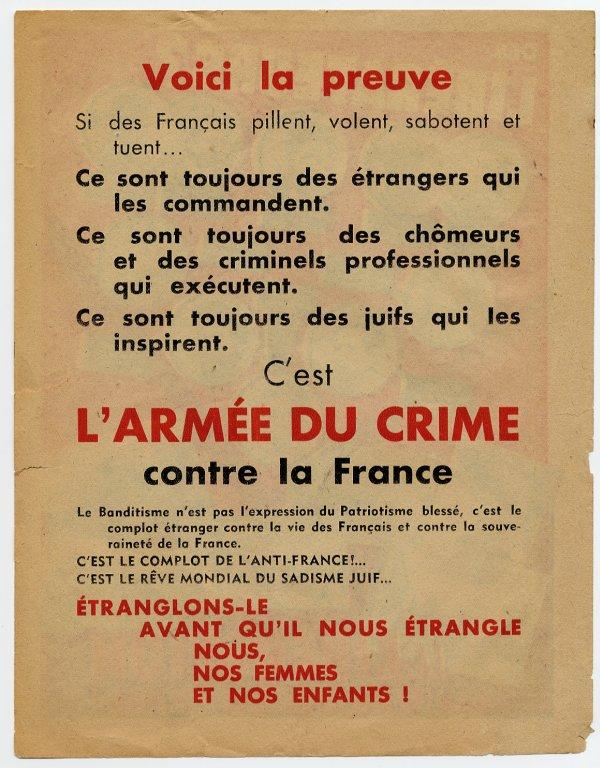 Verso du tract de l'Affiche Rouge